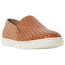 Buy Bertie Banjo Woven Leather Slip-On Trainers, Tan Online at johnlewis.com