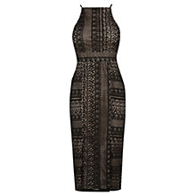 Buy Oasis Geo Patched Lace Pencil Dress, Black Online at johnlewis.com