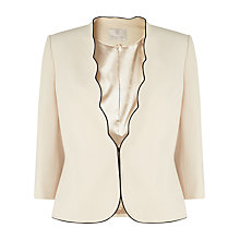 Buy Jacques Vert Petite Scallop Edge Jacket, Ivory Online at johnlewis.com