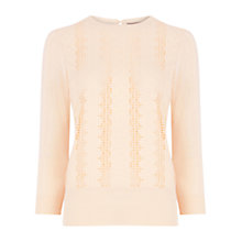 Buy Oasis Botany Lace Front Jumper, Pale Pink Online at johnlewis.com