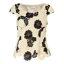 Buy Jacques Vert Petite Mono Lace Top, Cream/Black Online at johnlewis.com
