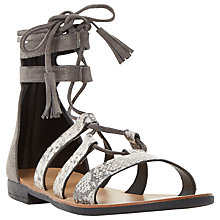 Buy Dune Lagunaa Ankle High Tie Sandals, Grey Online at johnlewis.com