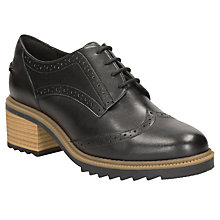Buy Clarks Balmer Bella Block Heeled Brogues, Black Online at johnlewis.com