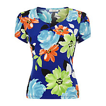 Buy Precis Petite Floral Print Jersey Top, Blue/Multi Online at johnlewis.com