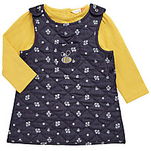 Buy John Lewis Baby Chambray Pinafore Dress, Navy/Yellow Online at johnlewis.com