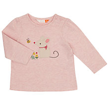 Buy John Lewis Baby Mouse Long Sleeved T-Shirt, Pink Online at johnlewis.com