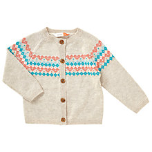 Buy John Lewis Baby Fair Isle Yoke Cardigan, Cream/Multi Online at johnlewis.com