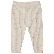 Buy John Lewis Baby Knitted Cable Leggings, Taupe Online at johnlewis.com