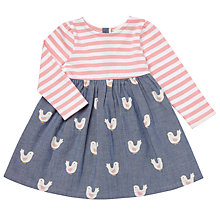 Buy John Lewis Baby Bird Print Skater Jersey Dress, Blue/Pink Online at johnlewis.com