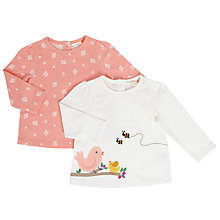 Buy John Lewis Baby Bird Nest T-Shirt, Pack of 2, Cream/Multi Online at johnlewis.com