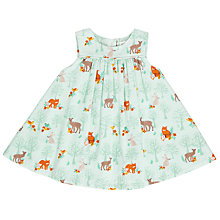 Buy John Lewis Baby Woodland Print Pinafore Dress, Aqua Online at johnlewis.com