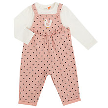 Buy John Lewis Baby Dungaree And T-Shirt Set, Pink/Cream Online at johnlewis.com
