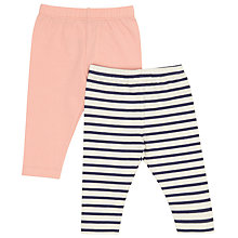 Buy John Lewis Baby Leggings, Pack of 2, Pink/Navy Online at johnlewis.com