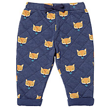 Buy John Lewis Baby Quilted Jogger Trousers, Navy Online at johnlewis.com