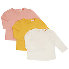 Buy John Lewis Baby Long Sleeve T-Shirt, Pack of 3, Assorted Online at johnlewis.com