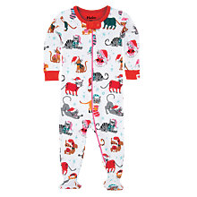 Buy Hatley Baby Holiday Cats Sleepsuit, White/Multi Online at johnlewis.com