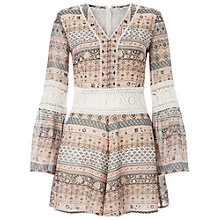 Buy Miss Selfridge Printed Lace Insert Playsuit, Multi Online at johnlewis.com