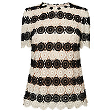 Buy L.K. Bennett Claudine Crochet Top, Black/Cream Online at johnlewis.com