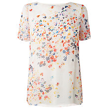 Buy L.K. Bennett Rania Floral Top, Vermillion Online at johnlewis.com
