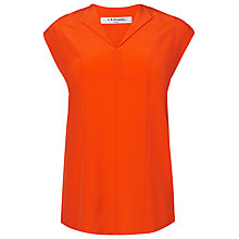 Buy L.K. Bennett Taryn Silk Woven Top, Vermilion Online at johnlewis.com