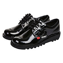Buy Kickers Children's Kick Lo Lace Up Shoes, Black Patent Online at johnlewis.com