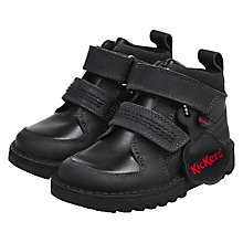 Buy Kickers Children's Kick Stomper Boots, Black Leather Online at johnlewis.com