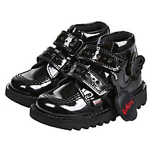 Buy Kickers Children's Kick Flutter Leather Boots, Black Patent Online at johnlewis.com