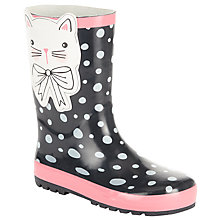 Buy John Lewis Children's Spotty 3D Cat Wellington Boots, Black Online at johnlewis.com