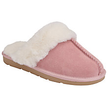 Buy John Lewis Children's Snuggle Suede Mule Slippers, Pink Online at johnlewis.com