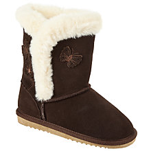 Buy John Lewis Ellie Butterfly Suede Boot Slippers, Chocolate Online at johnlewis.com