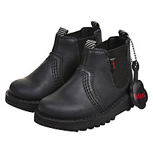 Buy Kickers Children's Chelsea Boots, Black Leather Online at johnlewis.com