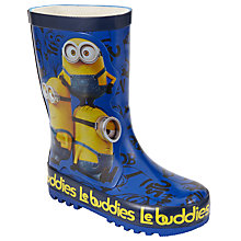 Buy Minions Children's Wellington Boots, Blue/Yellow Online at johnlewis.com