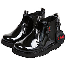 Buy Kickers Children's Chelsea Boots, Black Patent Online at johnlewis.com