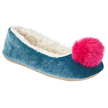 Buy John Lewis Children's Pom Pom Velvet Ballet Slippers, Blue/Multi Online at johnlewis.com