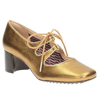 1920sStyleShoes Clarks VA Sondra Faye Lace Up Block Heeled Court Shoes Gold £80.00 AT vintagedancer.com
