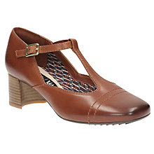 Buy Clarks V&A Sondra Dee T Bar Block Heeled Court Shoes, Tan Online at johnlewis.com