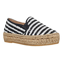 Buy KG by Kurt Geiger Milo Flatform Espadrilles, Black/White Online at johnlewis.com