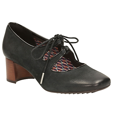 1920s Style Shoes Clarks VA Sondra Faye Lace Up Block Heeled Court Shoes Black £80.00 AT vintagedancer.com