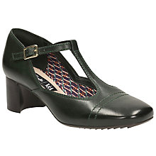 Buy Clarks V&A Sondra Dee T Bar Block Heeled Court Shoes, Dark Green Online at johnlewis.com