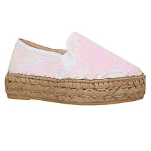 Buy KG by Kurt Geiger Milo Sequin Espadrille Sandals, White Online at johnlewis.com