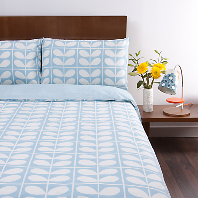 Orla Stem Grid Bedding, Light Blue