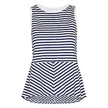 Buy Whistles Linen Striped Peplum Top, Blue/Multi Online at johnlewis.com