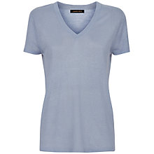 Buy Jaeger V-Neck Linen T-Shirt, Pale Blue Online at johnlewis.com