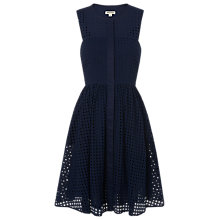 Buy Whistles Lattice Broderie Full Dress, Navy Online at johnlewis.com