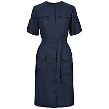 Buy Jaeger Linen Tie Waist Dress, Navy Online at johnlewis.com