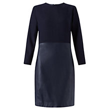 Buy Jigsaw Leather Mix Long Sleeve Dress, Navy Online at johnlewis.com