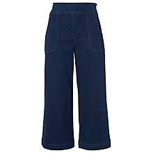 Buy Whistles Cropped Pocket Wide Leg Trousers, Denim Online at johnlewis.com