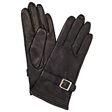 Buy John Lewis Embossed Leather Buckle Gloves, Black Online at johnlewis.com