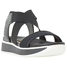 Buy Dune Black Lyrix Flatform Sandals, Black Leather Online at johnlewis.com
