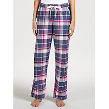 Buy John Lewis Hannah Check Cotton Pyjama Bottoms, Navy/Pink Online at johnlewis.com